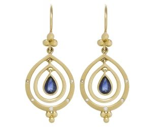 18K Double Pear Drop Earrings with Blue Sapphires and Diamonds