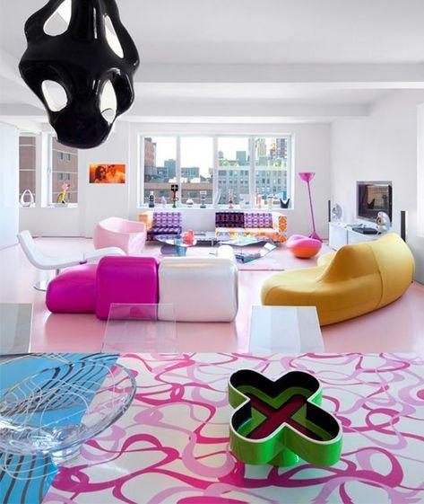 ish and chi: The vibrant home of Karim Rashid- interior design, decorating and style ideas Karim Rashid, Plywood Furniture, Design Furniture, Purple Interior, Best Interior, Interior Modern, Awesome Bedrooms, Cool Rooms, My New Room