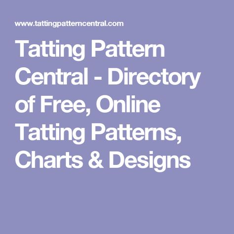 Tatting Pattern Central Directory Of Free Online Tatting Patterns