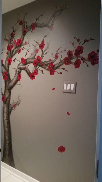 Red Cherry Blossom Tree Bathroom Mural Tree Wall Murals Tree Wall Painting Room Wall Painting
