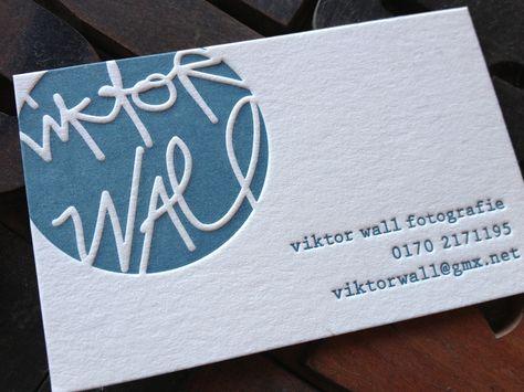 Einfarbige Letterpress Visitenkarten Für Viktor Wall Von