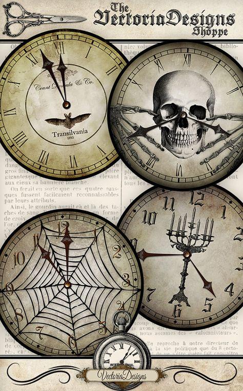 Halloween Clocks, Halloween Skull Decor, Halloween Printables, Bat Clock, Halloween Decoration, Halloween Clock Face, Halloween Paper 000929
