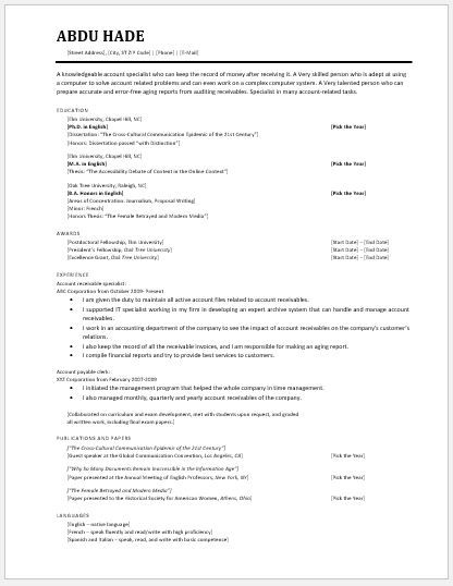 Accountant Resume 2018 Template DOWNLOAD at    writeresume2 - accounts receivable clerk resume
