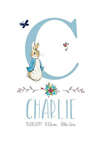 Peter Rabbit Baby Personalised New Baby Boy or Girl Print Perfect Christening Baptism Gift A5 OR A4 UNFRAMED