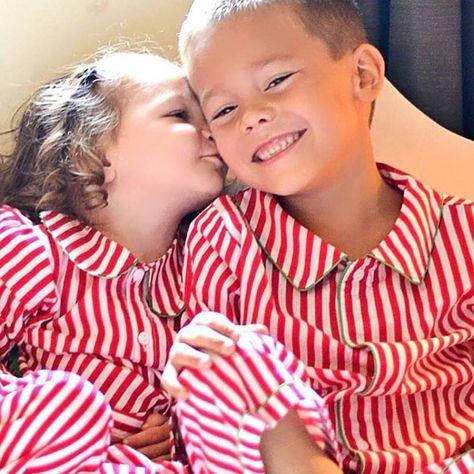 Over Stock Little Girl Christmas Pajamas- Red/White with Christmas Green trim