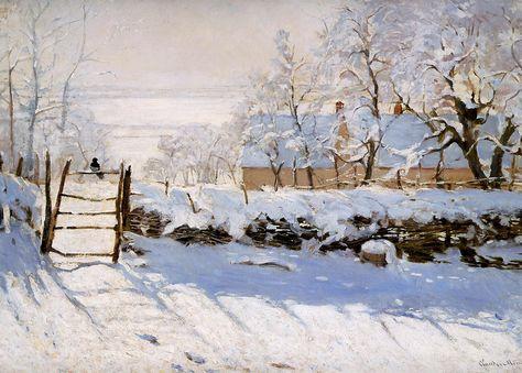 Monet   The magpie   La pie   1868 1869   tuyết trắng không màu là nền lý tưởng phản chiếu rõ ràng màu sắc bóng đổ của các vật khác lên nó.