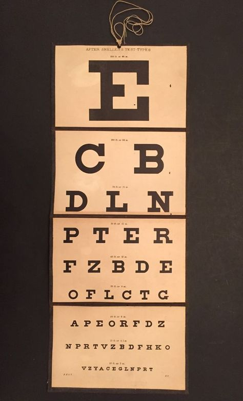 Antique After Snellen S Test Types Seeing Eye Chart Foldable Collapsible 1800 Ebay