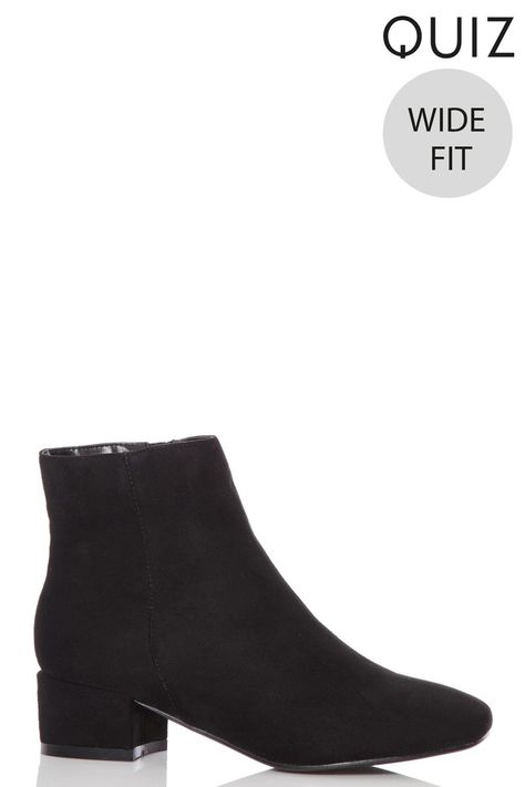 soft and light 2019 factory price latest collection Womens Quiz Wide Fit Faux Suede Ankle Boots - Black ...