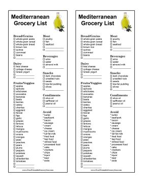 Printable Shopping List What To Buy For Mediterranean Diet
