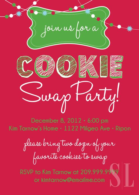 Cookie Swap, Cookie Exchange or Cookie Decorating Party Invitation