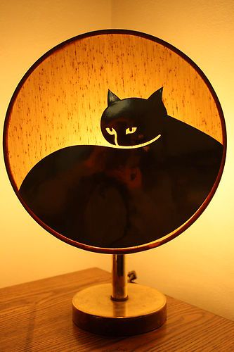 Vintage Table Lamp Gold Cat Round Lamp Shade Unusual Retro