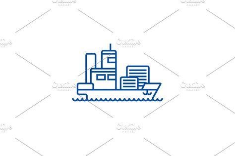 Ship cargo container line icon