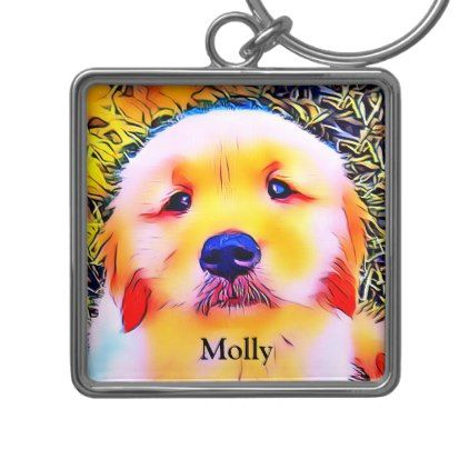 Vibrant Golden Retriever Puppy Psychedelic Art Keychain Zazzle