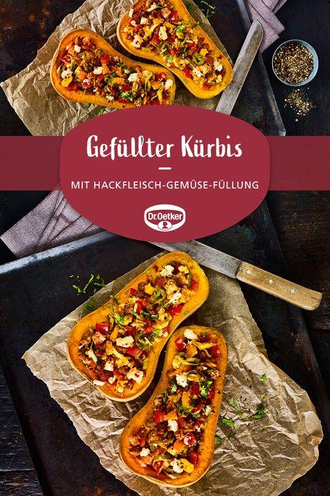 Gefüllter Kürbis mit Hack: Butternut-Kürbis mit einer Hackfleisch-Gemüse-Füllung aus dem Backofen  #abendessen #grillparty #pumpkin
