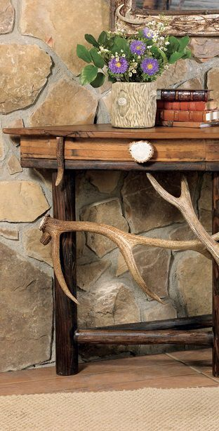 Awesome Antler Console Table Antler Wood Accent Furniture In Squirreltailoven Fun Painted Chair Ideas Images Squirreltailovenorg
