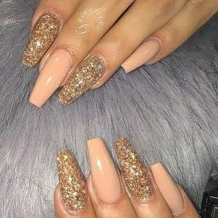 Coffin Nails Gold Glitter Nails Peach And Gold Nails Spring Nails Acrylic Nails Gel Nails Gold Acrylic Nails Peach Acrylic Nails Gold Glitter Nails