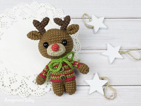 Christmas deer cupcake pattern - Amigurumi Today | 355x473