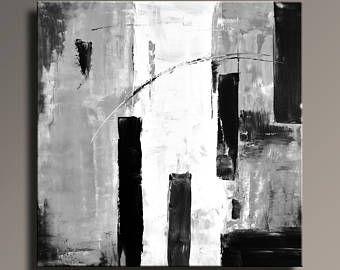 Betere ABSTRACT schilderij zwart wit grijs schilderij originele Canvas DS-77