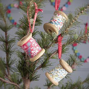 Vintage Fabric Cotton Reel Decoration - christmas decorations
