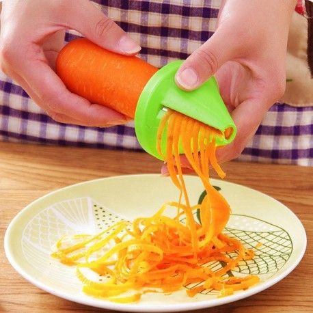 Vegetable Fruit Dual Spiral Shred Device Cutter Slicer Kitchen Peeler Pink
