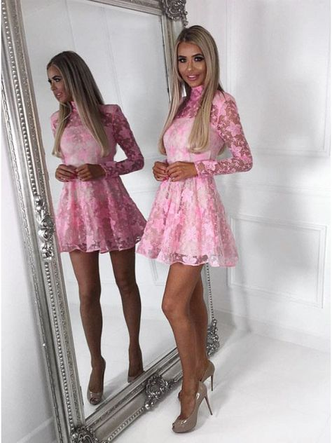 A-Line High Neck Long Sleeves Short Pink Lace Homecoming Party Dress