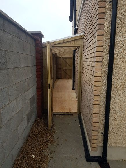 Lean To Shed Malahide Side Passage Sheds Mac Carpentry In 2020 Lean To Shed Lean To Backyard Patio Designs