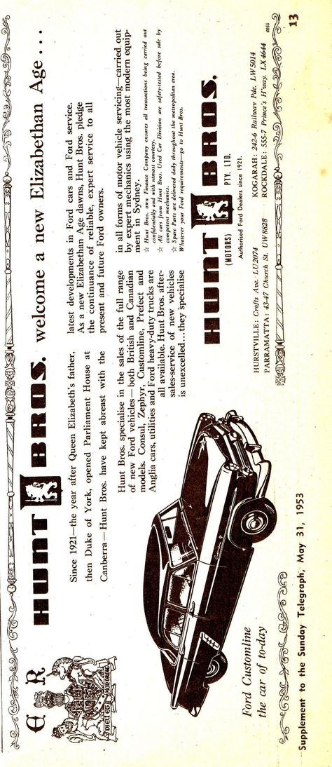 1953 Avis Hunt Bros Ford Customline Aussie Original Magazine