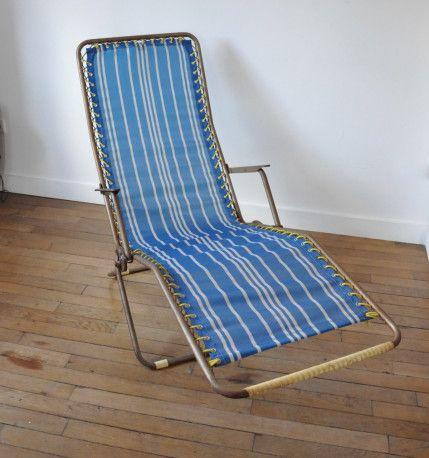 Transat Vintage Chair Sunchair Garden Vintagefurniture Vintage 60s Chaise D Exterieur Transat Mobilier
