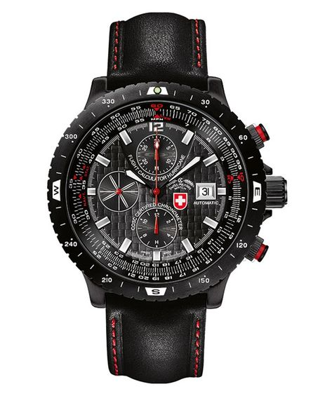 CX SWISS MILITARY WATCH AUTO FLIGHT CALCULATOR HURRICANE CHRONO 7750 BLACK DIAL. For info or to order: http://www.http://swiss-military.com/