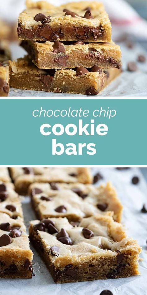 These Chocolate Chip Cookie Bars are soft, moist and addictive. Made with oil instead of butter, they stay nice and tender. #recipe #dessert #chocolatechip #cookiebars #bars #cookies #chocolatechipcookies