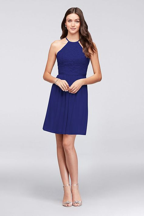 new appearance classic shoes sneakers Open-Back Lace and Mesh Short Bridesmaid Dress Style F19752 ...
