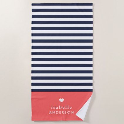 Navy Blue And Coral Chic Stripes Heart Monogram Beach Towel