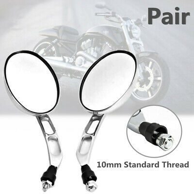Universal Chrome Street Bike Cruiser Motorcycle Scooter Rearview Mirrors 10mm