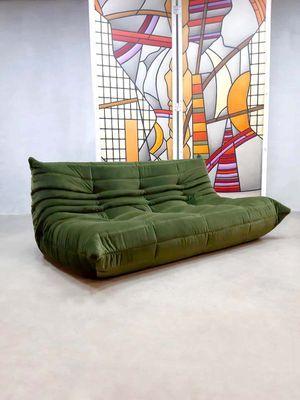 Vintage Forest Green Velvet Togo Sofa By Michael Ducaroy For Ligne