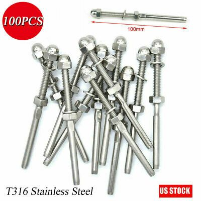 100pcst316 Stainless Steel Swagethreaded Tensioner End Fittings1 8 Cable Railing Ebay In 2020 Stainless Steel Cable Cable Railing Steel
