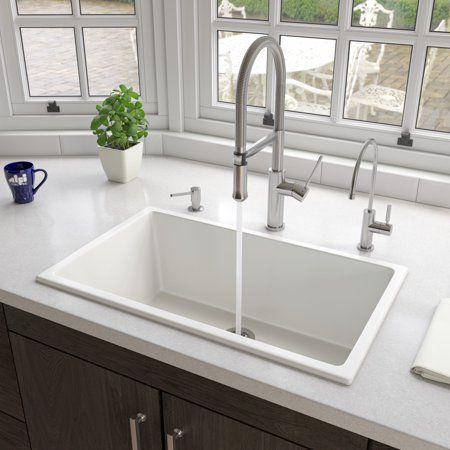 Alfi Brand Ab3018ud W 30 White Undermount Drop In Fireclay Kitchen Sink Walmart Com In 2020 Undermount Kitchen Sinks Sink Single Bowl Kitchen Sink