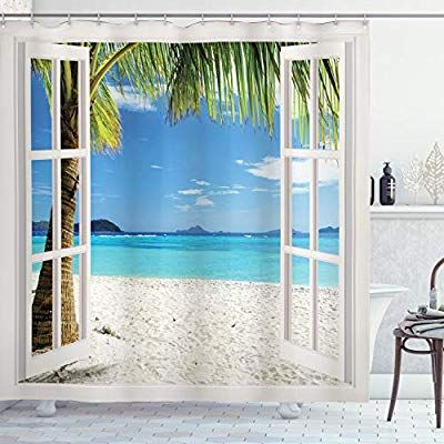 Ambesonne Turquoise Shower Curtain Tropical Palm Trees On Island