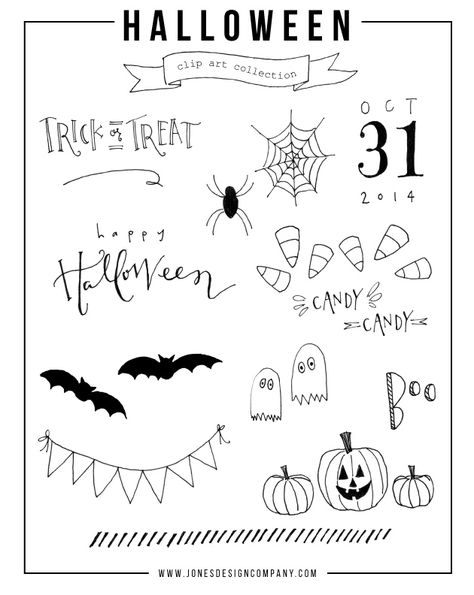 free hand-drawn halloween clip art