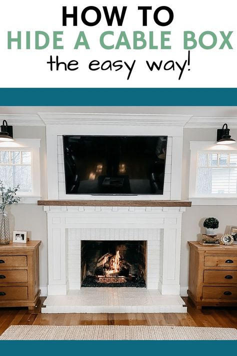 Tv Mounted Above Fireplace, Hide Tv Over Fireplace, Above Fireplace Ideas, Mantle Ideas, Hiding Wires Mounted Tv, Hide Tv Wires, Hiding Tv Cords, Hide Cable Cords, Hide Cable Box