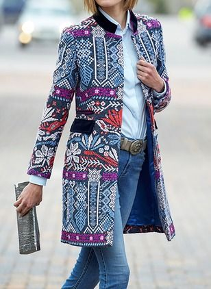 Patchwork Ethnic Print Long Sleeve Vintage Jacket is hot sale on Newchic,here women Coats & Jackets with unbelievable discounts.