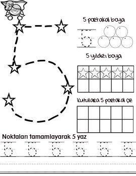 5 Rakami Calisma Sayfasi Matematik Okuma Okul