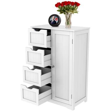 Wooden Bathroom Floor Cabinet Side Storage Organizer Cabinet With 4 Drawers And 1 Cupboard White Walmart Com Bathroom Floor Cabinets Wooden Bathroom Floor Small Bathroom Storage