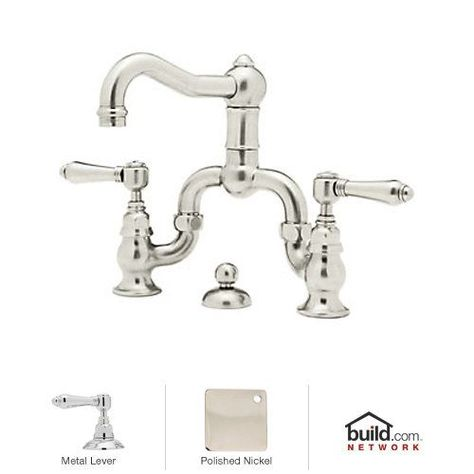 $653 View the Rohl A1419LMPN-2 Polished Nickel Country Bath Bridge Bathroom Faucet with Pop-Up Drain and Metal Lever Handles at Build.com.