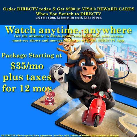 Order DIRECTV today & get 200 in VISA® REWARD CARDS