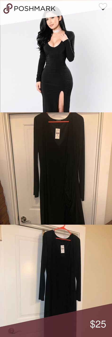 """FASHIONNOVA Love Sex Magic Dress - Black """"One is never over-dressed or under-dressed with a Little Black Dress."""" Long black dress featuring a ruching detail. Deep V neckline. Light shoulder pads and a thigh - high front slit that won't quit!  95% Polyester & 5% Spandex Fashion Nova Dresses Long Sleeve"""