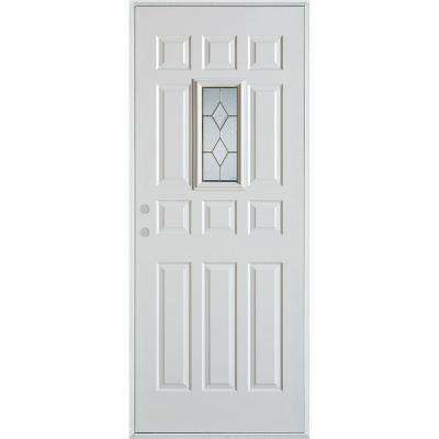 36 In X 80 In Geometric Zinc Rectangular Lite 12 Panel Painted White Right Hand Inswing Steel Prehung Front D Stanley Doors Painted Paneling Elegant Entryway