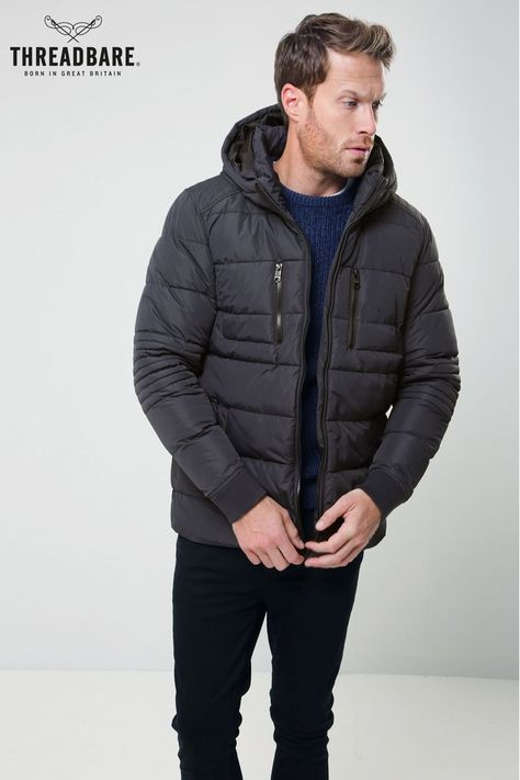 Mens Threadbare Padded Jacket Grey | Black padded jacket