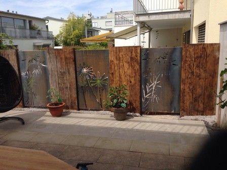 Sichtschutz Garten Holz Stein Modern Sichtschutzwand