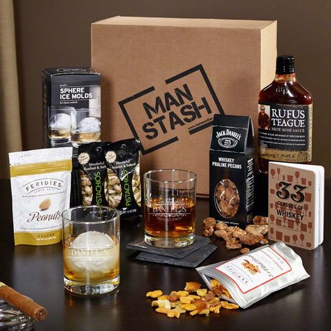 This gift basket for men is the key to any whiskey lover's heart. Containing twelve useful, savory, and classic gifts, this Man Stash gift box is an impeccable present for the holiday season.