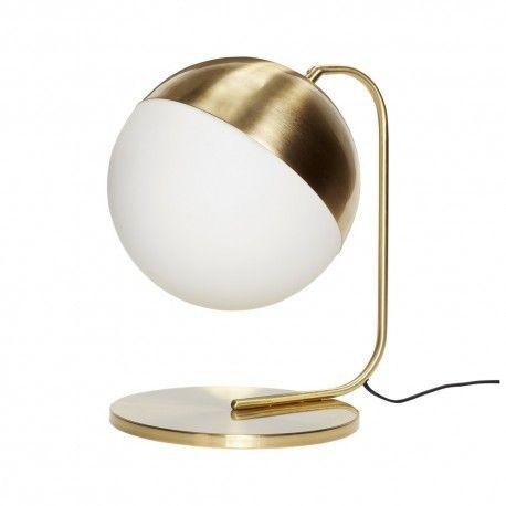 Hubsch Lampe A Poser Boule Verre Blanc Opalin Laiton 990604 Lampe A Poser Lampe Design Lampe A Poser Design